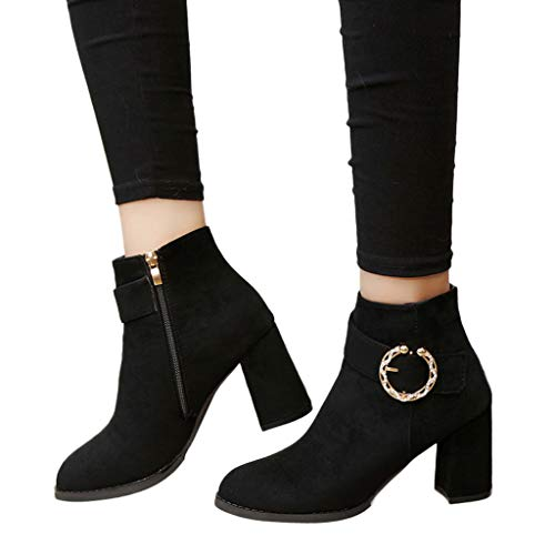 Mujer Cuña Botines Gamuza Con Punta Pure 6 Boots Zapatillas Para Cabeza Redonda Zipper Black Pelo De Zapatos Ante Bola Color Botas Bazhahei Fqxp5Bw