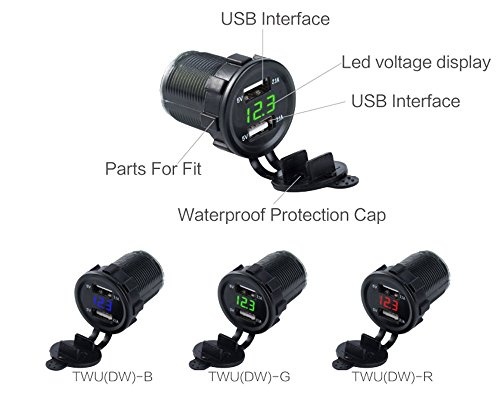 Cigarette Lighter Socket, Leyeet Dual USB Portable Waterproof LED Digital Display Voltage Volt Meter Monitor Power Adapter Charger Outlet for 12V/24V Car Marine Motorcycle (Green) by Leyeet (Image #3)