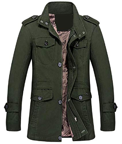 Relaxed Chin Parka Men's Green Jackets XINHEO Army Fit Guard Openwork gREwqxC