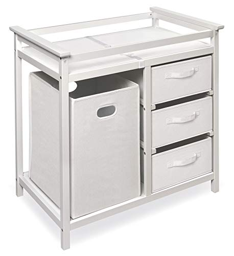 (Modern Baby Changing Table with Laundry Hamper, 3 Storage Baskets, and Pad)