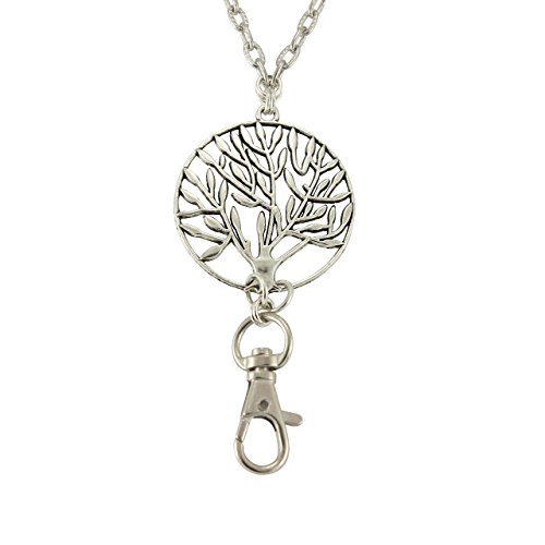 Women's Fashion Lanyard for ID Badge, Key Chain, or Phone with Silver Tree of Life Pendant on Textured Silver Chain, Rear Magnetic Break Away - Number Phone Glasses Usa