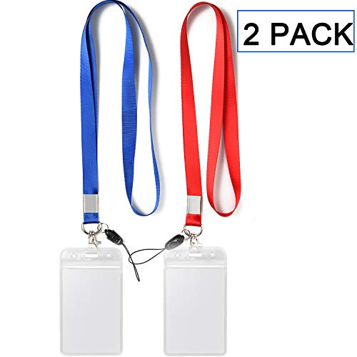 2 Pack ID Badge Holder with Blue Red Lanyard Strap Neck Strings Lanyard with Vertical Name Tag Card Holders Punched Zipper Waterproof Resealable Clear Plastic ()
