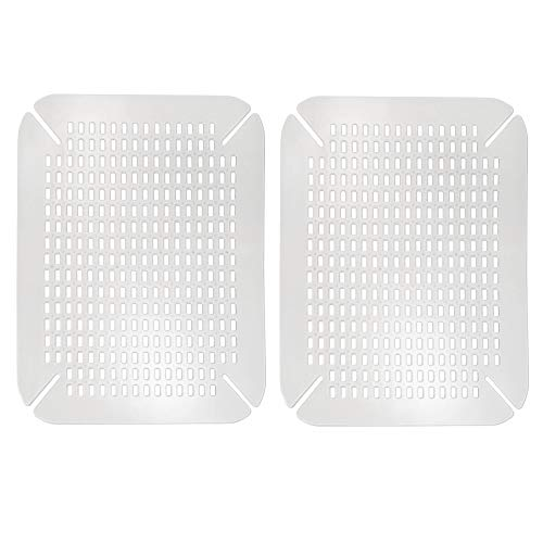 mDesign Adjustable Kitchen Sink Dish Drying Mat/Grid - Soft Plastic Sink Protector - Cushions Sinks, Stemware, Wine Glasses, Mugs, Bowls, Dishes - Quick Draining, Contours to Sink - 2 Pack - Clear