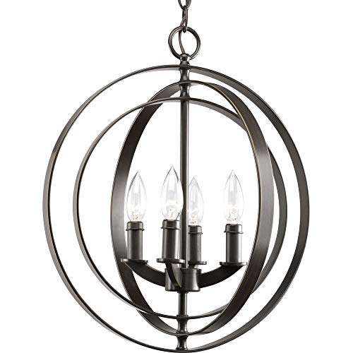 Progress Lighting P3827-20 4-Light Sphere Foyer Lantern with Pivoting Interlocking Rings, Antique Bronze ()