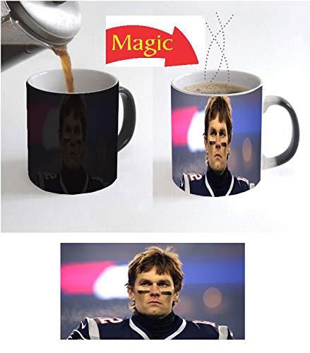 (Tea Coffee Mug Mugs Cups Cup 11oz Black Ceramic Magic Color Change Heat Reactive Tom Brady football Lovers Fan Christmas Kids Gift T4)