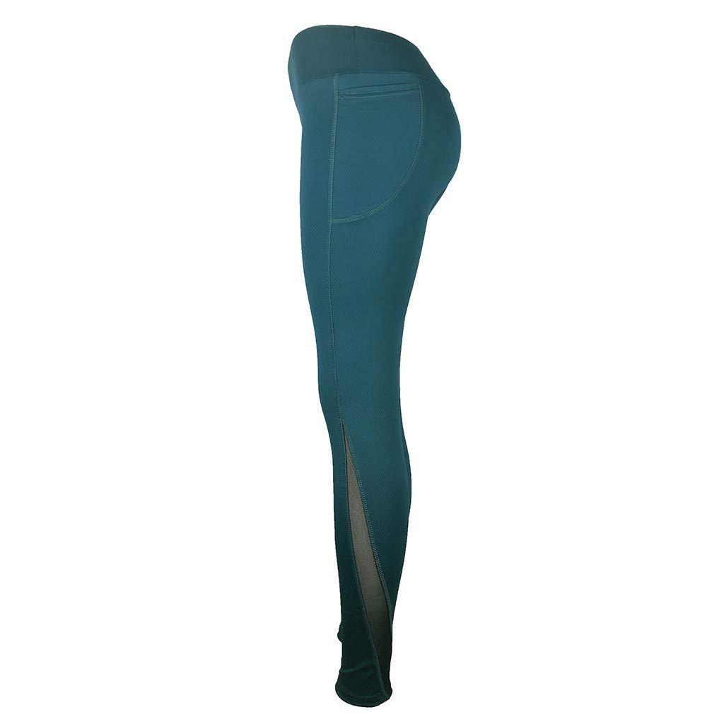 RISTHY Pantalones Yoga Largos Mujer Bolsillo Mallas Fitness Leggins Cintura Alta Adelgazada El/ástico Pantalones Entrenamiento Profesionales Deportivos para Gimnasio Correr