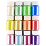 Slime DIY Mica Powder, Natural Powder Pigment Set for Slime Colorants, Bath Bomb dye, Soap Making, Makeup and Sparkly Nail Art Candle Making, Cosmetic Grade Natural, 10g/0.35oz Each