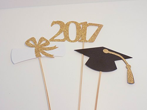 3 piece set of School Colors Centerpiece Sticks including Diploma, Grad Cap, 2017 for DIY Graduation Decor (Centerpieces For Graduation Parties)