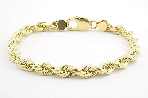 10K Gold 7.0MM Thick Diamond Cut Rope Chain Bracelet-Lobster Lock Closure (8)