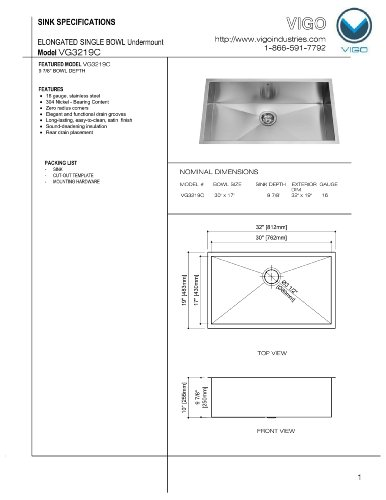 VIGO 32 Inch Undermount Single Bowl 16 Gauge Stainless