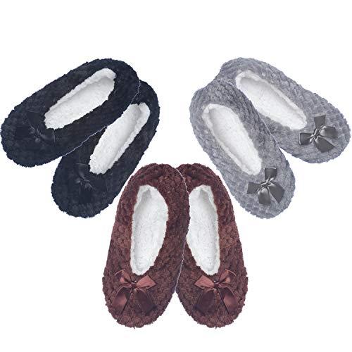 Women's Fuzzy Warm Cozy Feet Slippers Non-Slip Lined-Sherpa Plush Fleece (3 Pack 26607-A)