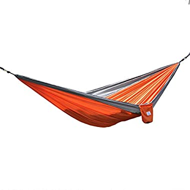 OuterEQ Portable Parachute Nylon Fabric Travel Camping Hammock For Double Two Person Grey & Orange