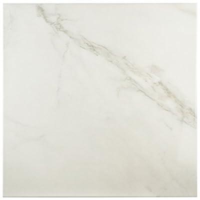 "SomerTile FAP18DNB Margaret Ceramic Floor and Wall Tile, 17.75"" x 17.75"", White/Grey"