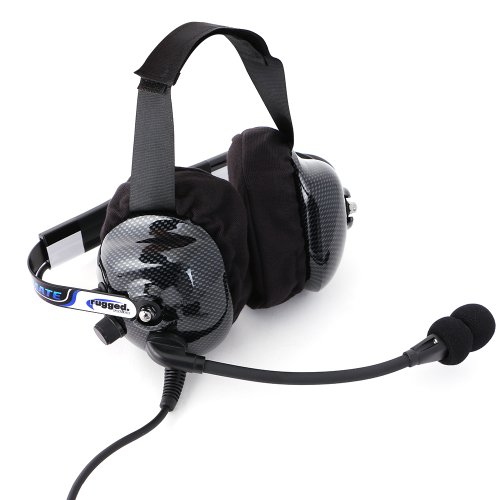Rugged Radios H42-ULT Carbon Fiber Behind The Head Ultimate Headset with Gel Ear Seals, Cloth Ear Covers and Dynamic Noise Cancelling Microphone by Rugged Radios (Image #1)