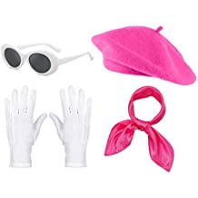 Fancy Clothing Womens French Beret Hat Chiffon Scarf Gloves Sunglasses Costume Accessories