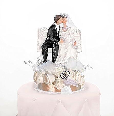 Tortenfigur Hochzeit Brautpaar mit Herzen Tortenaufsatz Tortendeko