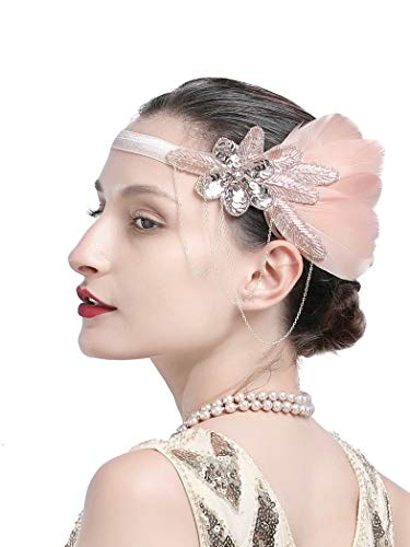 1920s Gatsby Flapper Feather Headband 20s Accessories Crystal Beaded Wedding Headpiece (L-Champagne) -