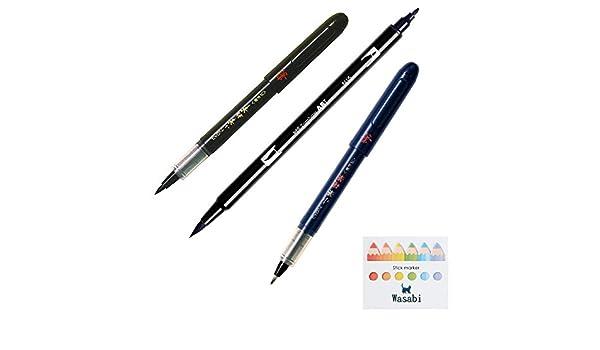 variedad paquete paquete surtido) marcador de punta de pincel Tombow Dual Art, n15 – negro + Piloto bolsillo, punta de pincel, suave punta (sv-30ksn-b) duro punta (sv-30kkn-b) y