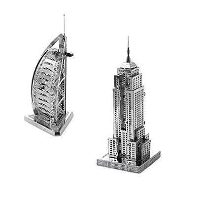 Metal Earth Fascinations Empire State Building E Burj Al Arab Puzzle In Metallo 3d Giocattoli Da Costruzione Modelli Di Taglio Laser