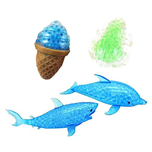 CosCosX 4 Pcs Novelty Bead Filled Stress Fruit Ball Hand Wrist Squeeze Shark Dolphin Frogs Ice Cream Bubble Rubber Colorful Beads Squeezing Relief Funny Vent Adult Kids Toy Gift,Random Color