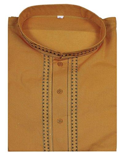 Bouton manches longues mens coton kurta col montant T-shirt décontracté solide