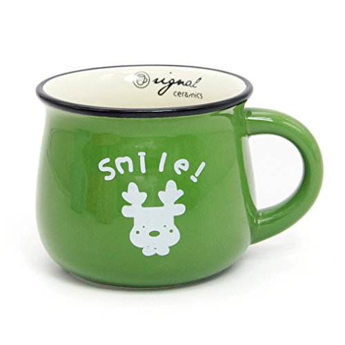 Momugs 12 oz Coffee Cup, Novely Cute Lovely Cartoon Animal Pattern Milk Mug, Green