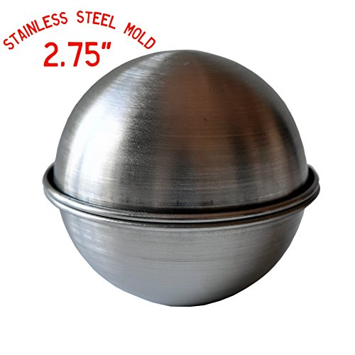 BATH BOMB MOLD to Make Your Own DIY, Lush, Fizzy, Round, Ball, Bath Bombs, Stainless Steel, Metal Bath Bomb Mold to Make your Favorite Bath Bombs or use it as a Cake Mold 2.75