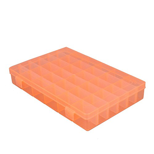 [Plastic Jewelry Box Organizer Storage Container With Adjustable Dividers 36 Grids by Rekukos (Orange)] (Accent Hinged Bangle)
