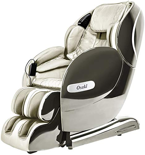 Osaki OS-Monarch Zero Gravity 3D SL-Track Massage Chair with Space Saving Technology in Cream, Bluetooth Connection for Speaker, 9 Unique Auto-Programs, 4 Massage Styles, USB Connector