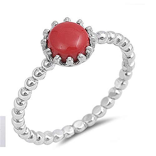 Simulated Coral Beaded Fashion Ring New .925 Sterling Silver Band Size 6