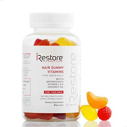 iRestore Hair Vitamin Gummies - Biotin, Coconut Oil, Vitamins C/E, Turmeric - Vegan, Gluten Free, Natural Flavors - Hair Growth, Skin & Nails Gummy Bear Supplements - Hair Loss Products - Men & Women
