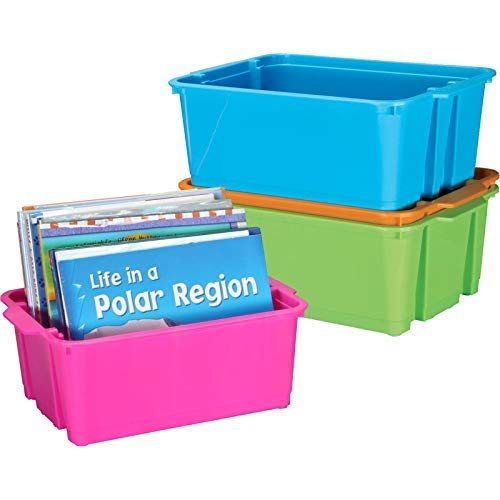 Really Good Stuff Stackable Plastic Book and Organizer Bins for Classroom or Home Use - Sturdy Plastic Baskets in Fun Neon Colors (Set of 4)]()