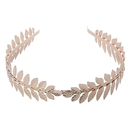 Ztl Gold Leaf Headband Bridal Headpiece Hair Accessories for Women Girls -