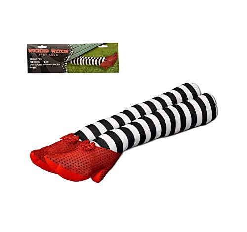 Wicked Witch of the East Legs - Prop Leg Red Shoes with Striped Stockings | Halloween Decor - 18