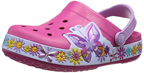 crocs Crocband Butterfly K Clog (Toddler/Little Kid), Candy Pink, 10/11 M US Little Kid by Crocs
