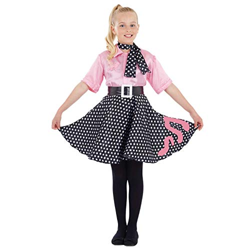 Children's 50s Costumes (Girls 50s Poodle Dress Costume Kids Rock N Roll Polka Dot Decades Outfit -)