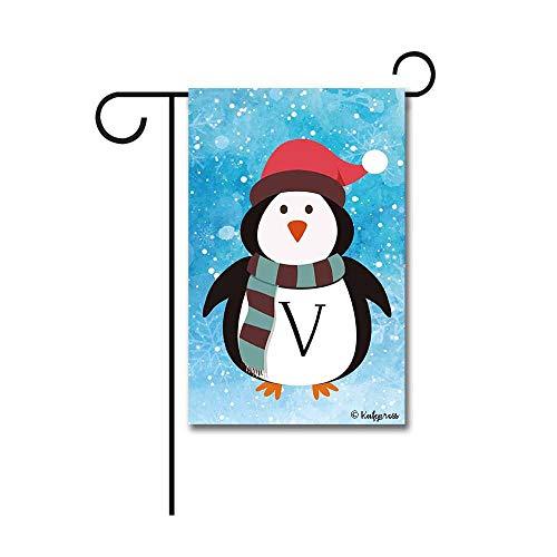 Kafepross Cute Penguin in Santa Hat Monogram V Decorative Garden Flag Winter Snow Letter Initial Decor Banner for Outside 12.5