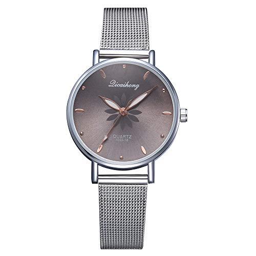 YaidaLuxury Fashion Women Watch Stainless Steel Analog Quartz Wristwatch Bracelet Flower (Black)