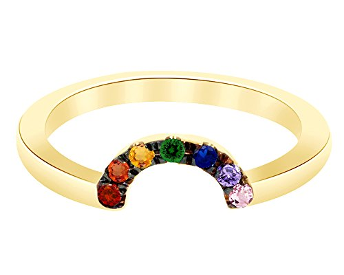 Wishrocks Round Cut Multi Gemstone Rainbow Band Ring in 14K Gold Over Sterling Silver ()