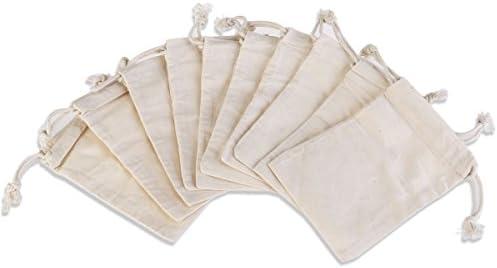 ROSENICE Geschenkbeutel Säckchen Schmuckbeutel Baumwollbeutel mit Kordelzug 10 Stück