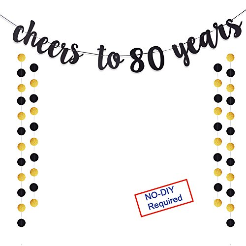 Cheers to 80 Years Gold Glitter Banner For Adult 80th Birthday Party Supplies Wedding Anniversary Party Decorations -