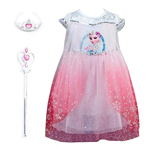 - Lifereal Girl's Frozen Princess Costume Dress with Tiara, Wand for Birthdays and Cosplay (Pink, 150cm(11-12Y))