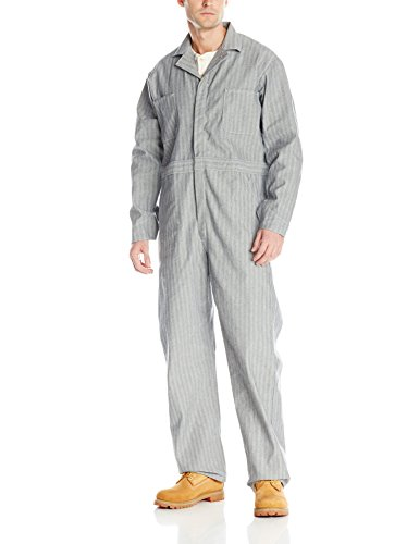 (Red Kap Men's Snap Front Cotton Coverall, Oversized Fit, Long Sleeve, Herringbone, 44)