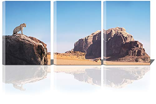 Landscape Wall Art with Frame for Home Decoration Leopard Stand on The Rock Canvas Prints Ready to Hang Brown Mountain Room Decor Painting in 3 Pieces 12×16 Inches Blue Sky Decorative Pictures