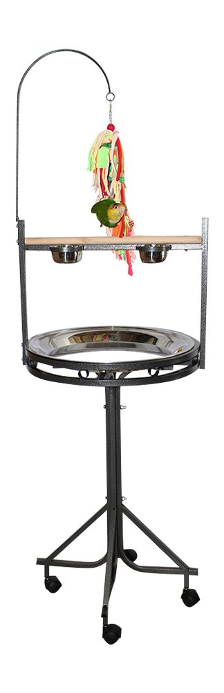 Birds LOVE Stainless Steel Tray, Non-Toxic, Powder Coated Parrot Playstand with Perch, Toy Hook and Stainless Steel Cups - Black