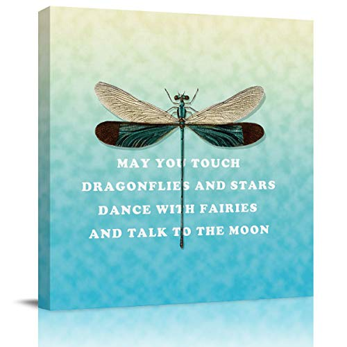 SUN-Shine Canvas Wall Art Oil Painting Prints Stretched and Framed, Dragonfly and Poems Pattern Wall Artworks Picture for Living Room Kitchen Bedroom Decoration -