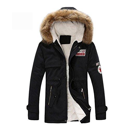 MRstriver New Men's Thick Warm Winter Down Coat Long Fur Collar Army Green Men Parka Fleece Cotton Coat Jacket Parka Men Black XL ()