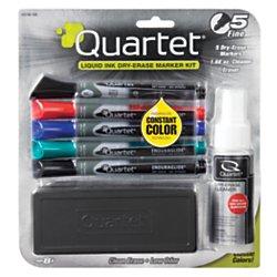 Quartet Dry Erase Markers Accessory Kit, Fine Tip, EnduraGlide, Assorted Colors, 5-PACK - Quartet Markers Black