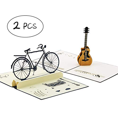 2 Pieces Handmade 3D Pop Up Bicycle Car and Guitar Birthday Cards Creative Greeting Cards ()
