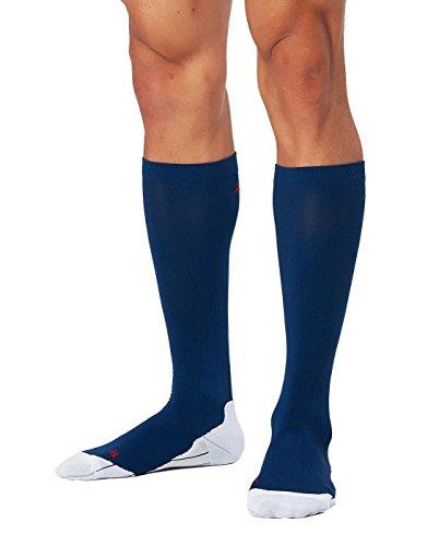 2XU Men's Compression Performance Run Socks, Navy/Red, X-Small by 2XU (Image #3)